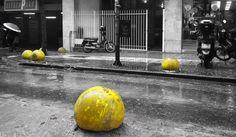 Urban yellow @Athens #Αthens #Ηeiden #Viktoria_station #urban_yellow #greyscale #photography #illustration #yellow_balls #repetition #yellow_concrete #blackandwhitephoto