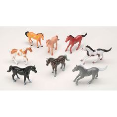 Set of Eight Plastic Horses for Display - Dollhouses and More