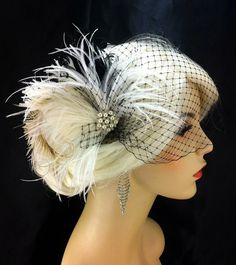 New Rock On - Bridal Feather Fascinator, Bridal Headpiece, Wedding Veil, Wedding Fascinator, Feather Fascinator, Black, White, Ivory, Pearls