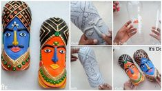How to make tribal mask from plastic bottle for wall art - Simple Craft Ideas Detergent Bottle Crafts, Water Bottle Crafts, Plastic Bottle Crafts, Plastic Bottles, Clay Wall Art, Clay Art, Waste Art, Easy Crafts, Arts And Crafts