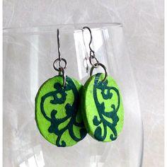 Green Hanji Paper Earrings Dangle Lime Green Emerald Earrings Swirl... ($14) via Polyvore featuring jewelry, earrings, lime green jewelry, lime green earrings, emerald dangle earrings, green dangle earrings and green earrings