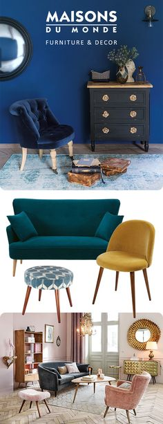 Decorate with Velvet! Autumn is here, so it's time to warm up your home with velvet decor. Bring a touch of luxe to your interior with a jewel toned velvet sofa or pastel armchair. Discover our velvet favourites | Maisons du Monde