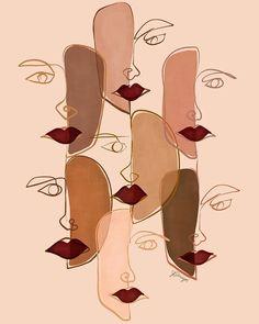 Sisters — Perryn Ryan Illustration & Design Abstract Face Art, Sisters Art, Arte Sketchbook, Feminist Art, Grafik Design, Minimalist Art, Collage Art, Art Projects, Art Drawings