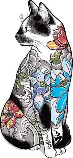 'Cat in Lotus Tattoo' Sticker by runcatrun Kunst Tattoos, Irezumi Tattoos, Tattoo Drawings, Tengu Tattoo, Tebori Tattoo, Japanese Tattoo Art, Japanese Tattoo Designs, Cat Tattoo Designs, Tattoo Sticker