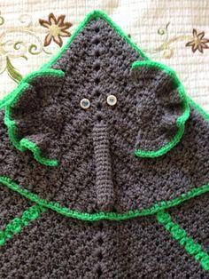 Custom made lil elephant baby blanket, crochet baby blanket, hooded blanket by KiddoCreation on Etsy