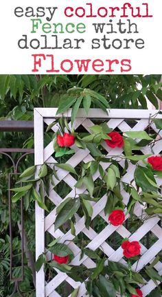 I was able to use dollar store flowers to create a colorful fence with a lattice panel which was repaired and painted with OFMP, Make an Easy Colorful Fence with Dollar Store Flowers theboondocksblog.com