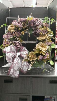 New purples...burlap purple bow with lace wreath...Robin Evans