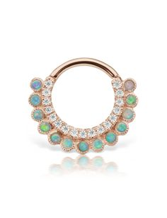 "5/16"" Opal and Cubic Zirconia Apsara Clicker (Septum) - ROSE GOLD Image #1"