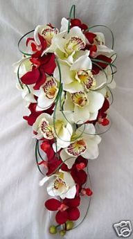 BOUQUET - ARTIFICIAL WEDDING FLOWERS - BRIDES ORCHID BOUQUET IN RED AND IVORY, WEDDING FLOWERS