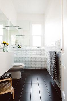 Inspirative Long Narrow Bathroom Design With Nice Natural Light - Bathroom Ideas For Long Narrow Bathroom, Bathroom Cabinet Ideas, Long Skinny Bathroom Ideas, Narrow Bathroom Design Ideas, Small Bathroom Design Ideas. Bathroom Floor Tiles, Bathroom Renos, Bathroom Renovations, Bathroom Interior, Black Bathroom Floor, Tub Tile, Cozy Bathroom, Modern Bathroom, Basement Bathroom