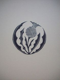 Classic thistle in black ink on cream cardstock x 11 inches). The thistle has a diameter of 4 inches. This print has companions--in-the-round coneflower and in-the-round rose prints also available in my shop. Scottish Symbols, Celtic Symbols, Celtic Art, Celtic Knots, Scottish Thistle Tattoo, Linoleum Block Printing, Celtic Designs, Printmaking, Body Art