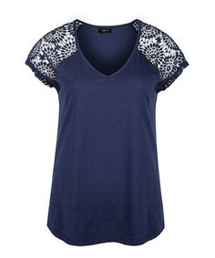 Midnight Blue Lace-Sleeve V-Neck Tee