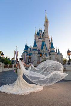 Beautiful Bridal Portrait In Front Of Cinderella Castle Photo Stephanie Disney Fine Art Wedding Dressesdisney World