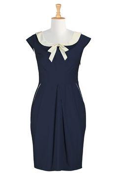 eShakti Contrast bow-tie sheath dress, $59.95, available at eShakti, up to size 36W. #refinery29 http://www.refinery29.com/plus-size-vintage-dresses#slide-7