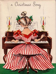 Girl is playing a Christmas song vintage holiday Postcard - christmas cards merry xmas family party holidays cyo diy greeting card Vintage Holiday Postcards, Vintage Christmas Images, Old Christmas, Old Fashioned Christmas, Vintage Greeting Cards, Retro Christmas, Christmas Greeting Cards, Christmas Pictures, Christmas Greetings
