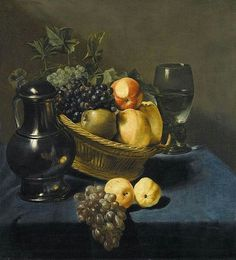 Judith Leyster(1609–1660)Still life with apples and grapes in a wicker basket, with a roemer and ewer on a blue draped table Oil on canvas  Dimensions68.3 × 63 cm (26.9 × 24.8 in)Current locationPrivate collection