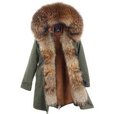 Nuovo Arrivo Pelliccia Parka 2017 Donne Lunghe di Marca Inverno Cappotto Reale Giacca di Pelliccia di Procione Lusso Grande Collare Staccabile Parka Femme