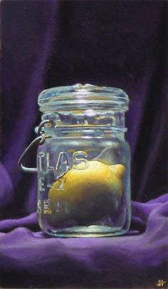 Captive lemon. Oil on panel painting by Jeffrey Hayes.