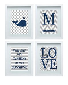 Whale Nursery Art You Are My Sunshine  Chevron Print Navy Blue Gray Boy room Wall Art Home Decor Kids room Set of 4 - 8x10 Prints Baby room on Etsy, $45.00