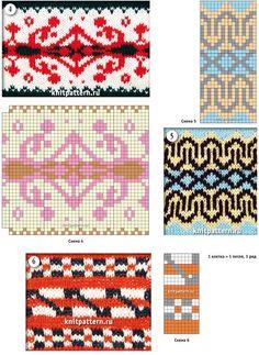 Рисунки cвязанных спицами образцов узоров со схемами. Страница №22.