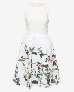 Secret Trellis print dress - Cream | Dresses | Ted Baker