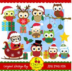 Christmas owls digital clipart set for-Personal by Cherryclipart