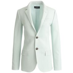 J.Crew Collection Women's Ludlow Blazer (789 AUD) ❤ liked on Polyvore featuring outerwear, jackets, blazers, tops, j crew jacket, long green jacket, green wool jacket, j crew blazer and button jacket