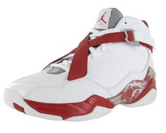 Jordan knows how to score on the court and in the fashion world. These Air Jordan 8.0 athletic shoes feature leather uppers, with contrast color detailing including cross straps at vamp with velcro closure, over top lace up closure, Jordan logo scattered throughout, the high top shoes also boast padded collar and tongue for extra comfort, cushioned insole, and rubber sole. Style: 467807