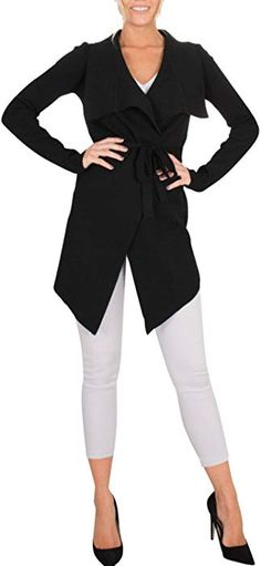 bc6b5876bedfb Glamaker Women s Open Front Knit Cardigan Coat Long Sleeves Sweater with  Belt Gray at Amazon Women s