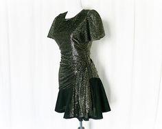 Vintage 80s Metallic Mini Cocktail Dress Ruffled Black Side Sash at PopFizzVintage, $38.00
