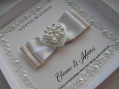 Luxury Pearl Border Wedding Invitation - With / Without Box