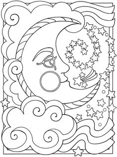Download Or Print This Amazing Coloring Page Pages Sun Moon Stars