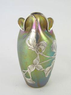 ❤ - Loetz   Fabulous Antique Loetz Sterling Silver Overlay Vase 1890/1900.