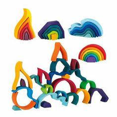 Solid Alder Wood Element Sculptural Blocks, 5 Piece Set, 4 Sets available.  $40 each
