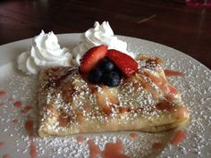 Patriot Crepe from The Coffee House at Second and Bridge in Franklin, TN ~ fresh strawberries, blueberries, sweet Mascarpone topped with powder sugar and whip cream!