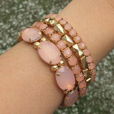 my lovely gold-pink bracelets Pink Bracelets, Instagram Posts, Gold, Accessories, Ideas, Jewelry, Fashion, Moda, Jewlery