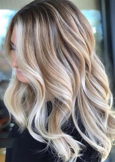 Ombre Hair Color, Hair Color Balayage, Blonde Color, Blonde Balayage, Hair Colors, Beige Hair Color, Hair Color Blondes, Blonde Hair With Brown Highlights, Fall Hair Highlights