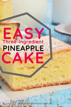 """This Easy Three-Ingredient Pineapple Cake is a recipe you can literally throw together in one minute flat! It is delicious hot served with custard for a pudding, too! Pinapple Cake, Easy Pineapple Cake, Pineapple Dessert Recipes, Easy Pineapple Pudding Recipe, Pineapple Tart, Easy Cake Recipes, Easy Desserts, Sweet Recipes, Baking Recipes"