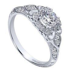 DIAMOND ENGAGEMENT RINGS - 14K White Gold .76cttw Ornate Vintage Style Round Diamond Engagement Ring With Bead Set Diamonds