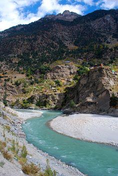 Teal-color water of Sutlej River in Kinnaur Valley, Himachal Pradesh, India