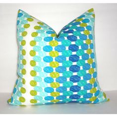 Summer Outdoor Coordinating Pillow Covers Blue Dot Teal Geometric Blue... (20 CAD) ❤ liked on Polyvore featuring home, home decor, decorative pillows, home & living, home décor, teal, teal home accessories, blue home decor, outdoor home decor and polka dot home decor