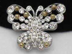 Designer Signed Figural Butterfly Brooch Pin Rhinestone