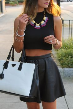 leather skirt skater | Leather Skirt And Crop Top