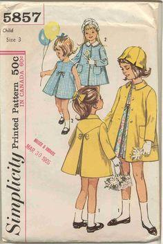 Simplicity 5857 Toddler Girls Dress, Coat , Petal Hat and detachable collar- Vintage Pattern, via Etsy.