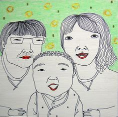 Family Portrait  3 person custom portrait by heeing on Etsy, $60.00