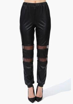 mesh leather harem pants
