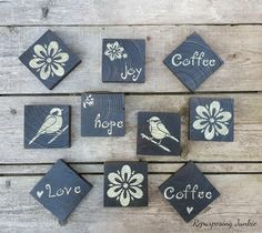 DIY Stenciled Coasters from Reclaimed Wood