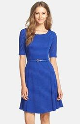 Gorgeous: Eliza J Textured Belted Fit & Flare Dress (Petite)