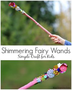Shimmering Fairy Wands! Simple craft for kids using sticks from your backyard! Fun nature craft.