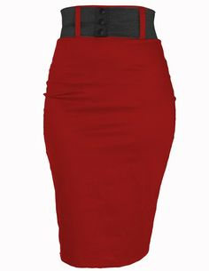 Red high waisted pencil skirt. Va-va-voom... ALL Women should have this in in their closet ;)